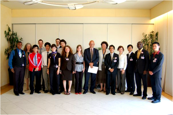 The students with the Swedish Ambassador and Pera Wells at a reception hosted by the Ambassador
